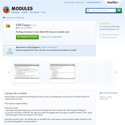 CSS Usage :: Modules pour Firefox