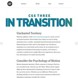 CSS3 In Transition