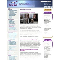 CSTA - Highlighted Resources