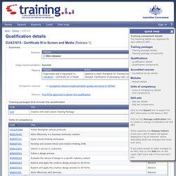 CUA31015 - Certificate III in Screen and Media