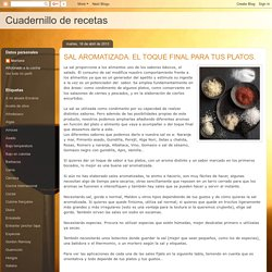 Cuadernillo de recetas: SAL AROMATIZADA. EL TOQUE FINAL PARA TUS PLATOS.