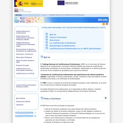 INCUAL. Catálogo Nacional de Cualificaciones Profesionales