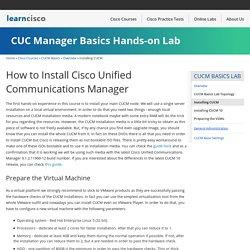 CUCM Basics Lab