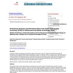 Terapia psicológica - Análisis Preliminar y Datos Normativos del Cuestionario de Ansiedad Estado-Rasgo en Adolescentes y Adultos de la Ciudad de Santiago de Chile