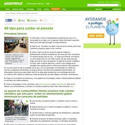 40 tips para cuidar el planeta