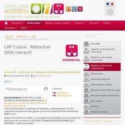 CAP Cuisine : Référentiel 2016 interactif