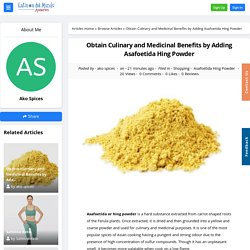 Obtain Culinary and Medicinal Benefits by Adding Asafoetida Hing Powder - Article View - Latinos del Mundo