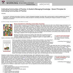Cultivating Communities of Practice: A Guide to Managing Knowled