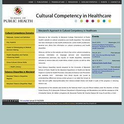 Cultural Competency in Health Care - University of Maryland Coll