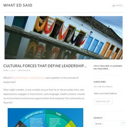 Cultural forces that define leadership… – What Ed Said