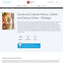 Social and Cultural History: Letters and Diaries Online - Package