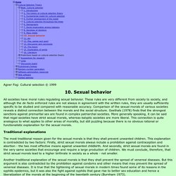 Cultural selection. Chapter 10: Sexual behavior