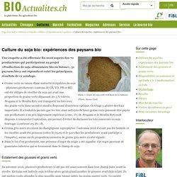 BIOACTUALITES_CH 21/07/17 Culture du soja bio: expériences des paysans bio