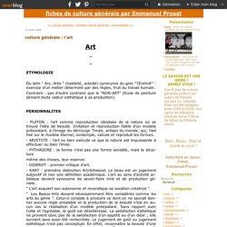 culture générale : l'art - fiches de culture générale par Emmanuel Proust