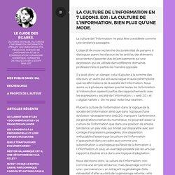 La culture de l'information en 7 leçons. E01 : La culture de l'information, bien plus qu'une mode.: