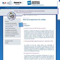 Guide tice - La culture de l'information - Dans les programmes du collège