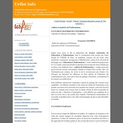 Culture et maîtrise de l'information - Urfist Info