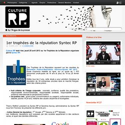 1er trophées de la réputation Syntec RP