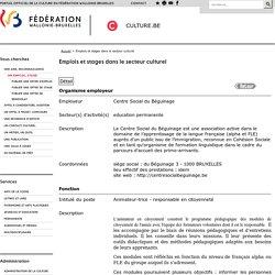 Emplois et stages dans le secteur culturel-Portailde la cultureenFédération Wallonie-Bruxelles