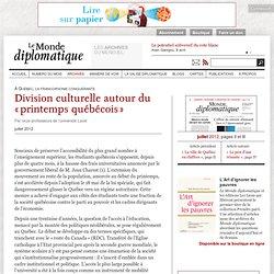Division culturelle autour du «printemps québécois»