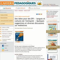 Des idées pour des EPI « langues et cultures de l'Antiquité » Quelques