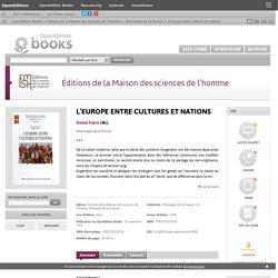 L'Europe entre cultures et nations - Éditions de la Maison des sciences de l'homme