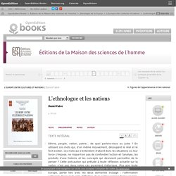 L'Europe entre cultures et nations - L'ethnologue et les nations - Éditions de la Maison des sciences de l'homme