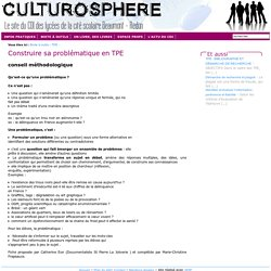 Culturosphère - Construire sa problématique en TPE