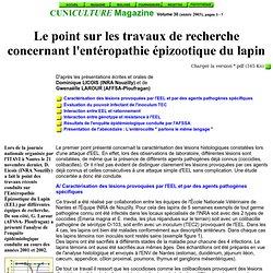 CUNICULTURE MAGAZINE Volume 30 (année 2003), pages 3 - 7 Le point sur les travaux de recherche concernant l'entéropathie épizoo