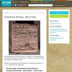 Cunieform Writing - Bill of Sale