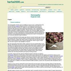 Cuprum met. - Homeopathy