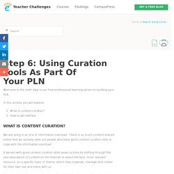 Step 6: Using Curation tools as part of your PLN