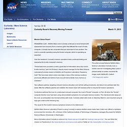 Curiosity Rover's Recovery Moving Forward Mission Status Report