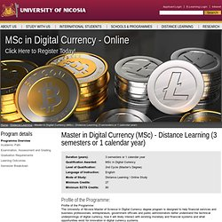 Master in Digital Currency (MSc) - Distance Learning (3 semesters or 1 calendar year)