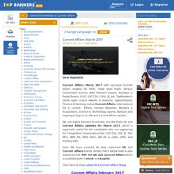 Current Affairs March 2017 For Competitive Exams