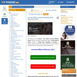 Current Affairs: Daily Gk Updates 02nd March 2017 with PDF Download