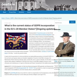 What is the current status of GDPR incorporation in the EU's 28 Member States? [Ongoing updates]