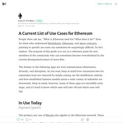 A Current List of Use Cases for Ethereum