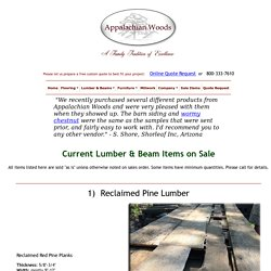 Current Lumber & Beam Items on Sale - Appalachian Woods, LLC