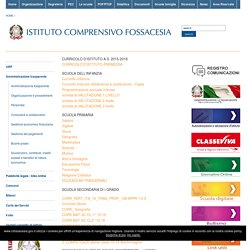 CURRICOLO D'ISTITUTO A.S. 2015-2016