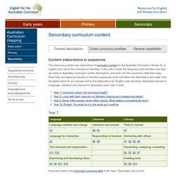 Secondary curriculum content « English for the Australian Curriculum