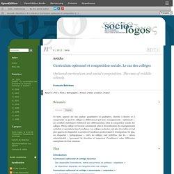Curriculum optionnel et composition sociale. Le cas des collèges