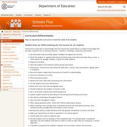 Curriculum differentiation - Schools Plus - The Department of Education