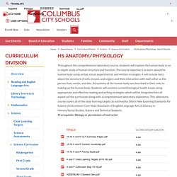 Curriculum Division / HS Anatomy/Physiology