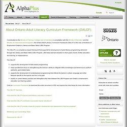 About Ontario Adult Literacy Curriculum Framework (OALCF) - AlphaPlus