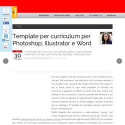 Template per curriculum per Photoshop, Illustrator e Word
