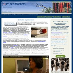 Curriculum Implementation Research Paper For Education Majors