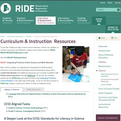 Curriculum & Instruction Resources - Science - Instruction & Assessment World-Class - Rhode Island Department of Education (RIDE)