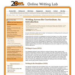 Writing Across the Curriculum: An Introduction