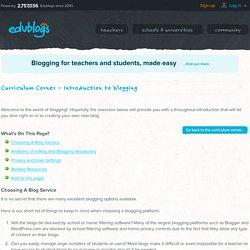 Curriculum Corner – Introduction to blogging -Edublogs